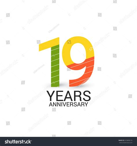 19 Years Anniversary Colorful And Simple Design Style