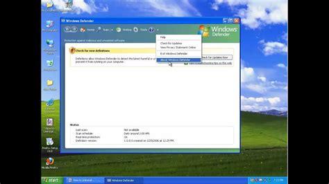 defender windows xp disable uninstall