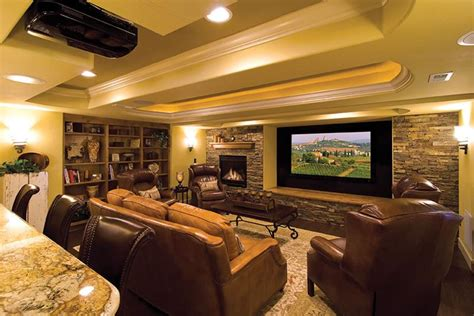 basement finished basements luxury designs theater floors wall hardwood entertainment stone company screen ceiling fireplace colors idea denver spaces ceilings