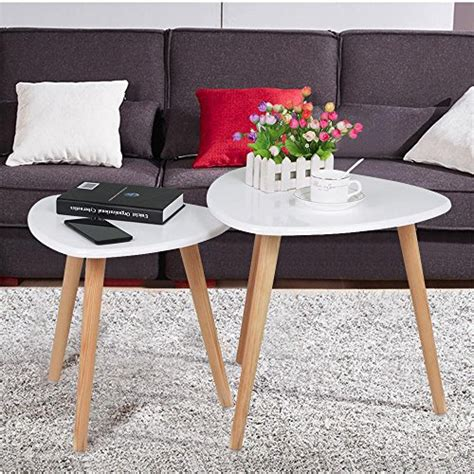 Wood Living Room Side Table by Yaheetech White Gloss Wood Nesting Tables Living Room Sofa
