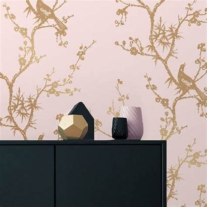 Removable Gold Pink Bird Rose Watching Wall