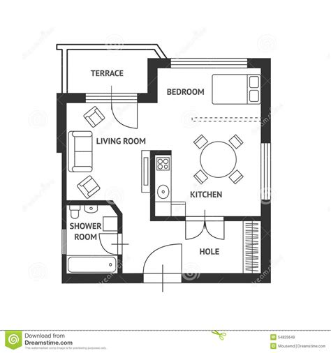 3 Bedroom Flat Architectural Plan by Vector Architect Plan With A Furniture Flat Stock Vector
