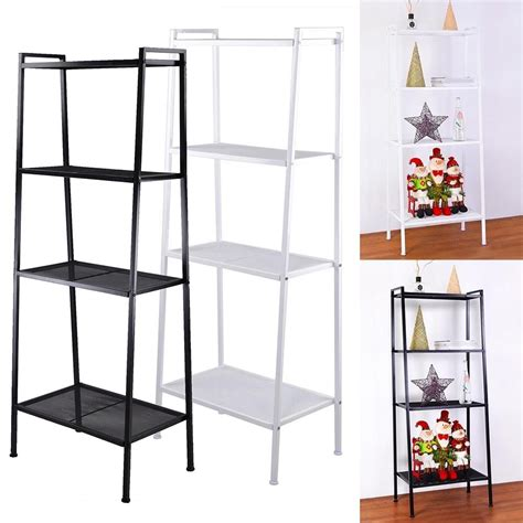 metal ladder shelf 4 shelf metal bookcase storage shelving bookshelf wall