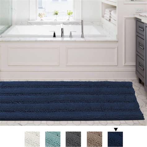 slip resistant washable striped large chenille shaggy bath