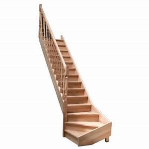 Escalier 1 4 Tournant Droit : escalier 1 4 tournant gauche en h tre avec balustre tourn e castorama ~ Dallasstarsshop.com Idées de Décoration