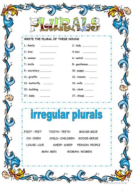 plural nouns worksheet  esl printable worksheets