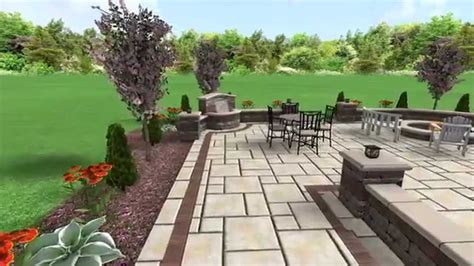 unilock yorkstone patio with water feature