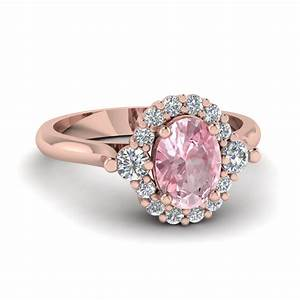 oval morganite halo diamond engagement ring fascinating With rose colored wedding rings