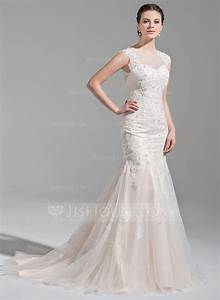 trumpet mermaid scoop neck court train tulle wedding dress With court wedding dresses