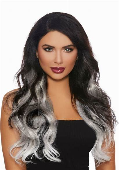 Ombre Hair Straight Grey Extensions Piece Halloweencostumes