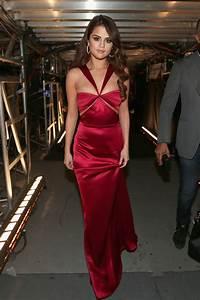 Selena Gomez Red Satin Pretty Long Prom Dress Grammys 2016