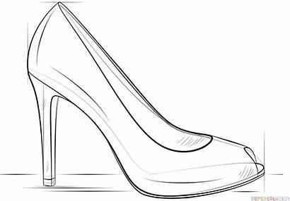 Heel Shoe Draw Drawing Outline Heels Easy