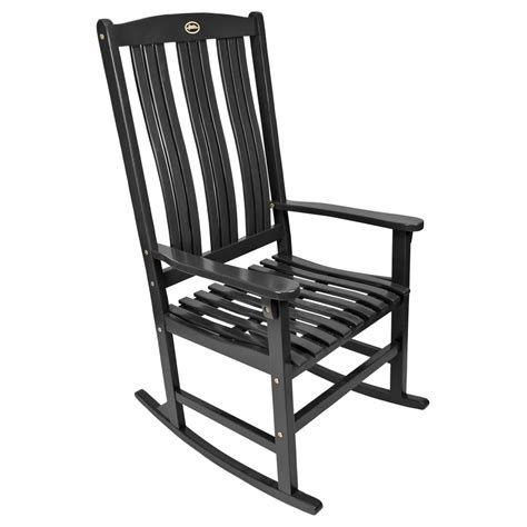 shop black wood slat seat outdoor rocking chair at lowes