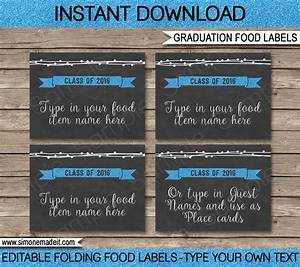 Editable graduation party food labels place cards for Food label template for party