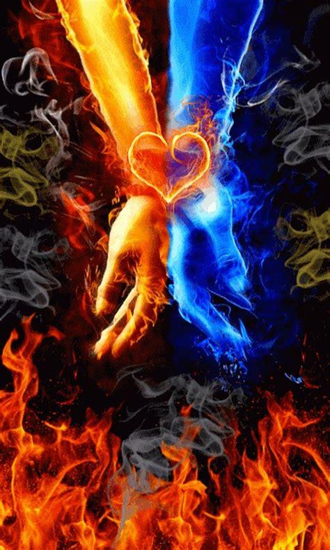 fire  water hands  wallpaper apk