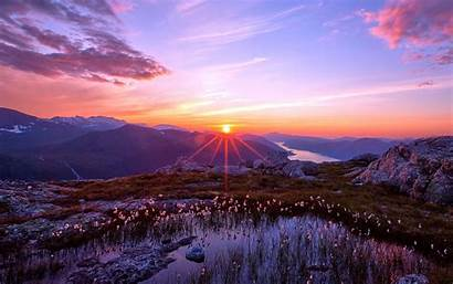 Sunset Mountain Landscape Nature Wallpapers Desktop Mountains