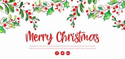 Merry Christmas Banner Floral Watercolor Vector Trees