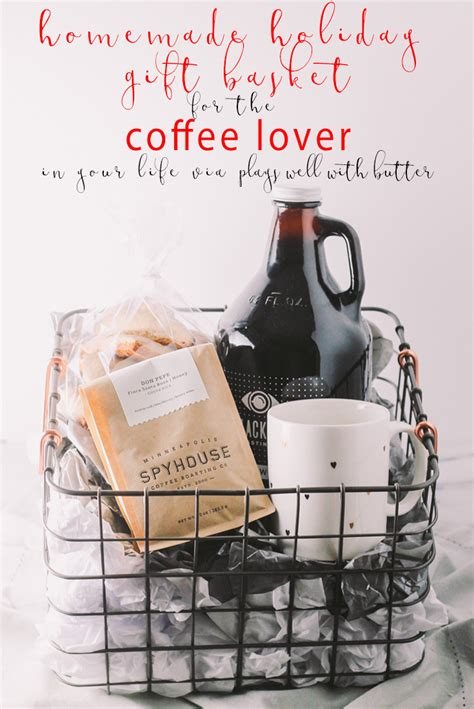 Homemade gift basket ideas is meant to be a helpful guide to inspire you to create gift baskets for family, friends, coworkers, teachers, and anyone else on your gift list. coffee gift basket for the holidays via playswellwithbutter