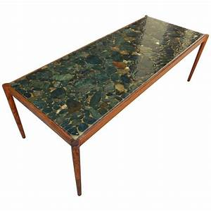Swedish mid century modern rosewood and river rock coffee for River rock coffee table