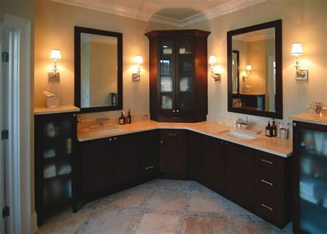 Custom L Shaped Bathroom Cabinets Double Sink
