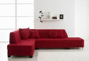 Red fabric modern convertible sectional sofa w wood legs for Modern red fabric sectional sofa