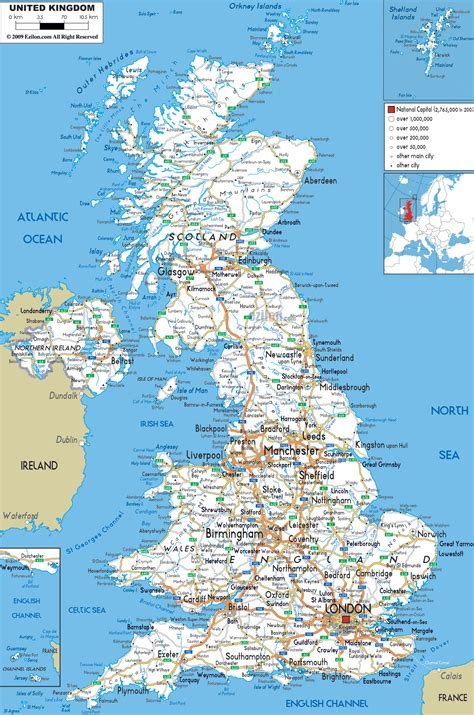 detailed clear large road map  united kingdom ezilon maps