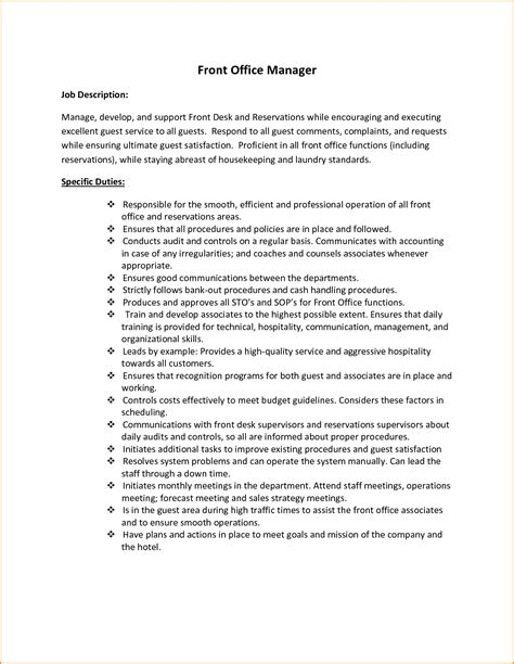 front desk officer duties and responsibilities 8 front desk job description invoice template download