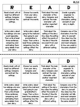 common core reading choice boards literature  grade