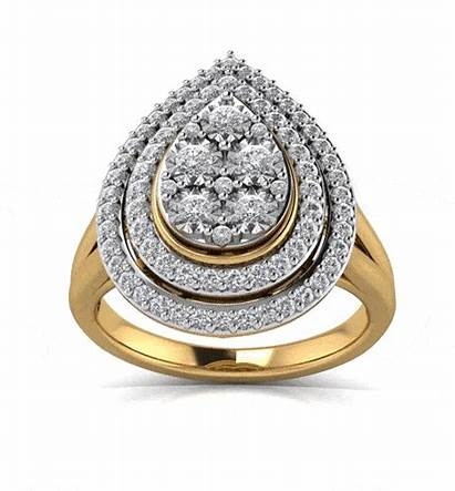 Ring Gold Halo Yellow 9ct 2ct Pear