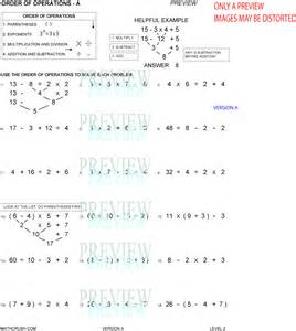 Order of Operations Worksheet Answers