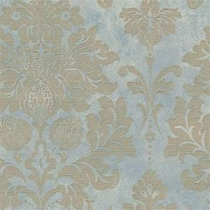 Large Damask, Gold on Turquoise, MD29418 Wallpaper