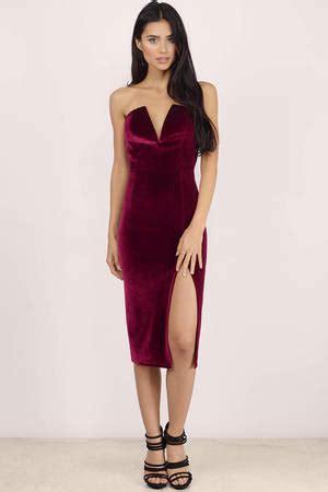 sexy wine bodycon dress strapless dress bodycon dress