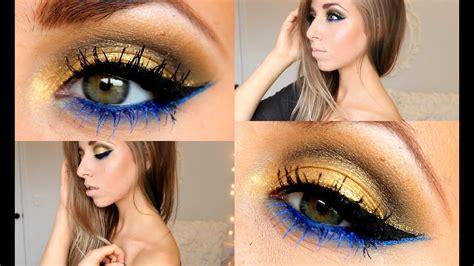 gold royal blue full face tutorial youtube
