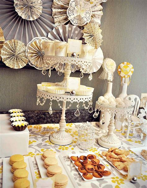romantic yellow gray dessert table hostess