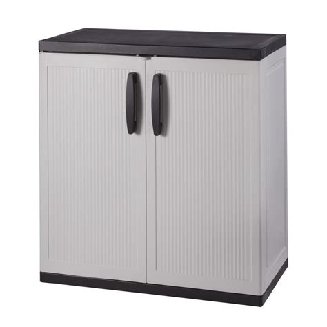 Plastic Storage Cabinets With Doors by Hdx 36 In H X 36 In W X 18 In D Plastic 2 Shelf Multi