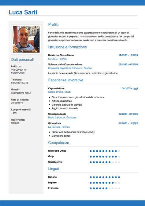 Cv Wizard by Curriculum Vitae Italiano Modello