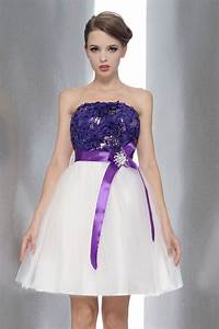 strapless purple white short dresses wedding party waist With short purple wedding dresses
