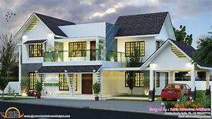 Modern Slope Roof Residence Kerala Home Design And Floor