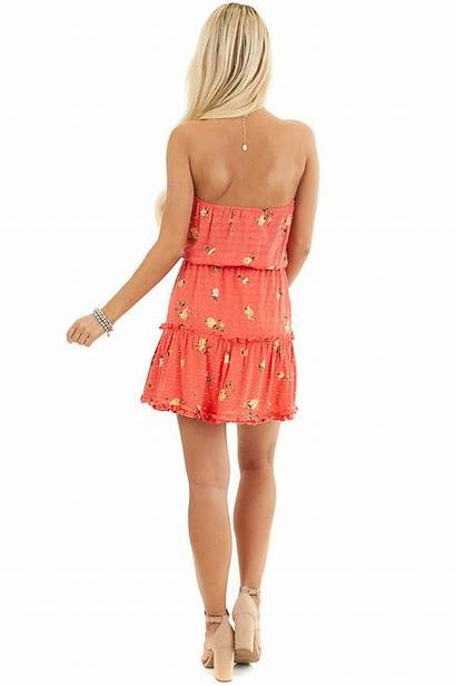 Floral Coral Strapless Ruffle Dresses