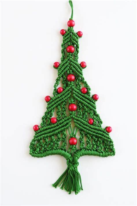 vintage macrame christmas tree wall hanging