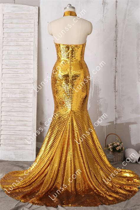 sparkly gold sequin choker mermaid long prom dress lunss