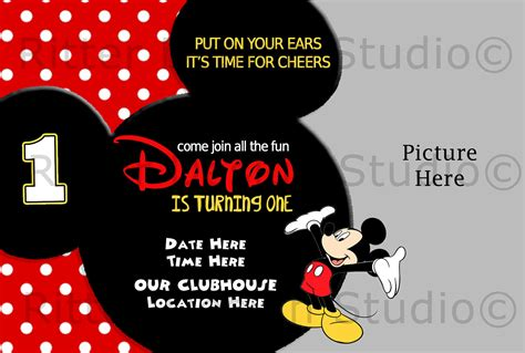 mickey mouse birthday invitation  ritterdesignstudio