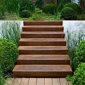 Treppen Im Garten : cortenstahl treppe 2 stufen corten garten stufen gartentreppe und sichtschutzwand garten ~ A.2002-acura-tl-radio.info Haus und Dekorationen