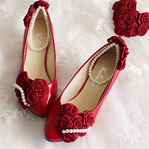 aesthetic bride wedding shoes rose pearl wedding dress With red dress shoes for wedding