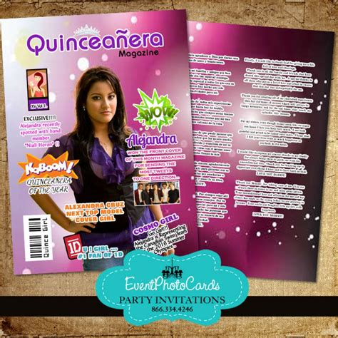 magazine cover quinceanera invite