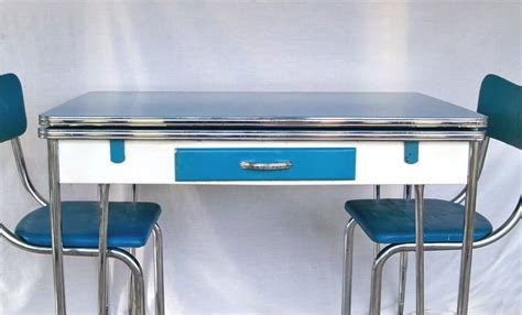 1950s Blue White & Chrome Kitchen Table And 3 Matching Chair