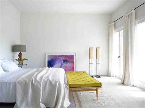 25 Newest Bedrooms That We Are In Love With : Love The Pops Of Chartreuse And Purples In This All White