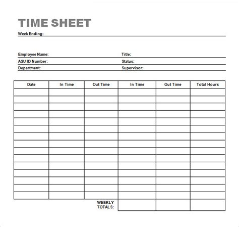 sample time sheets sample templates