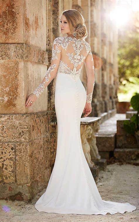lace illusion sheath wedding dress martina liana wedding