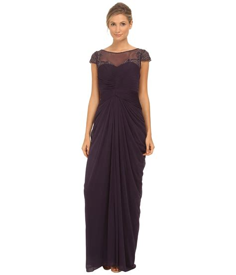 papell draped gown lyst papell tulle beaded draped gown in purple